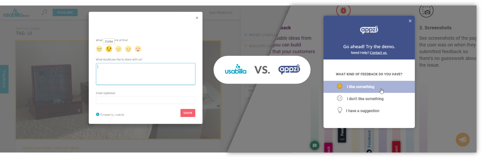 Usabilla vs Appzi Survey Widgets