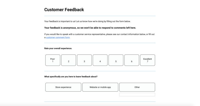 feedback form ideas